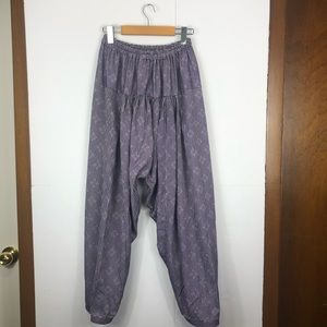 Vintage Cotton Linen Striped Harem Pants Sz S